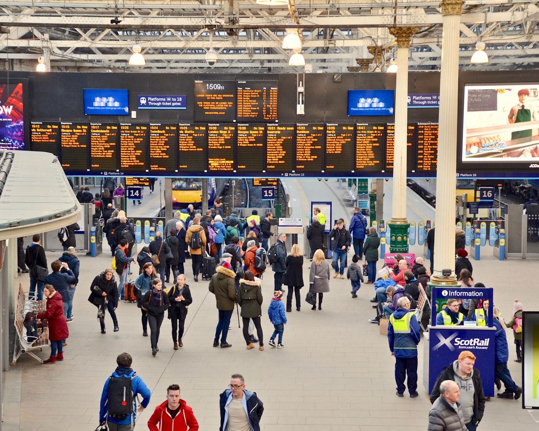 Waverley Train Station with People Edinburgh Transport