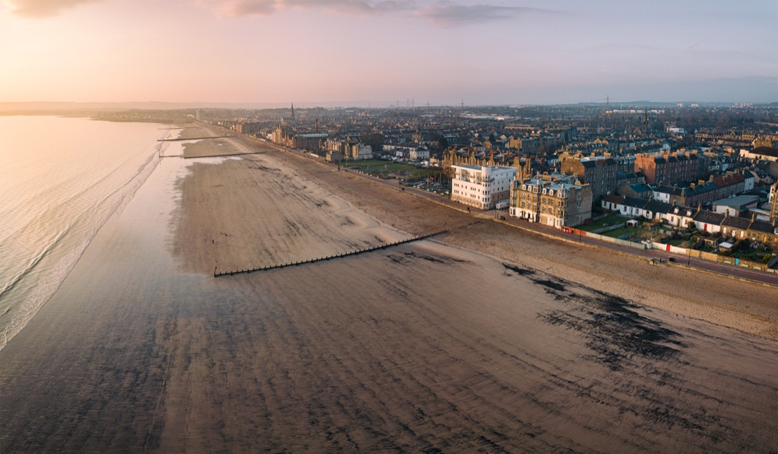 Aerial view of Edinburgh's Portobello beach and promenade. Sunset.
