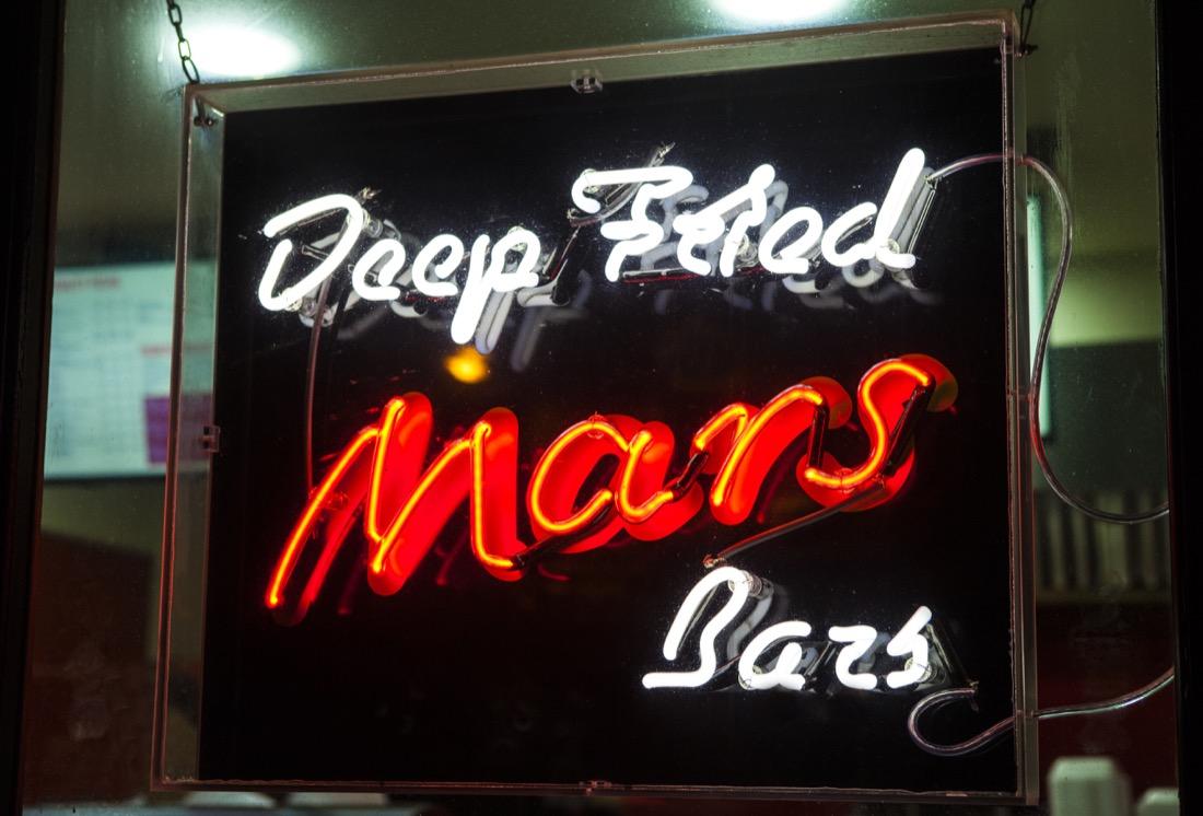 Neon Sign Deep Fried Mars Bar Edinburgh Takeaway