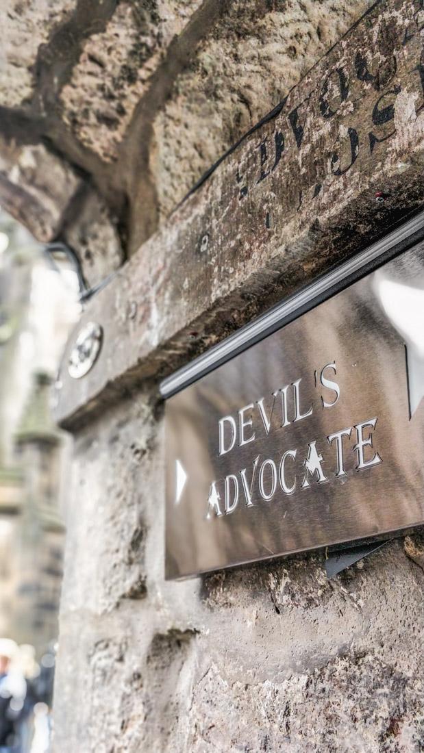 Devils Advocate Close Sign