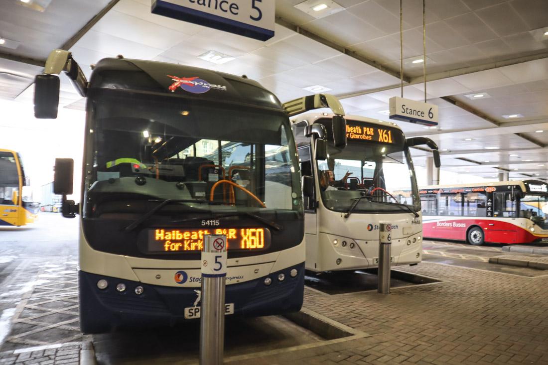Edinburgh Bus Station Buses Waiting