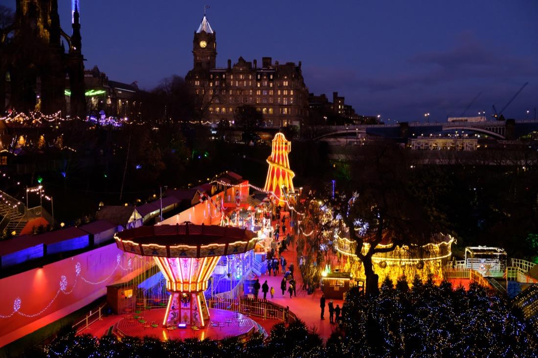 Edinburgh Christmas Market. Night. Winter.