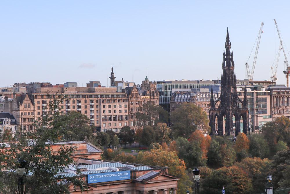 Views of Edinburgh New Town including Scott Monument from Ramsay Lane Edinburgh