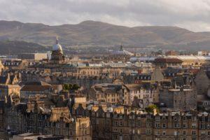 Edinburgh skyline with Pentland Hills in background walks in Edinburgh