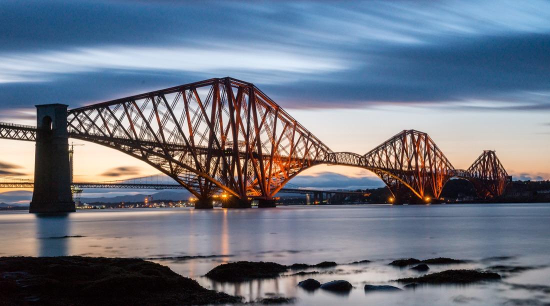 Forth Rail Bridge. Sunset. Night