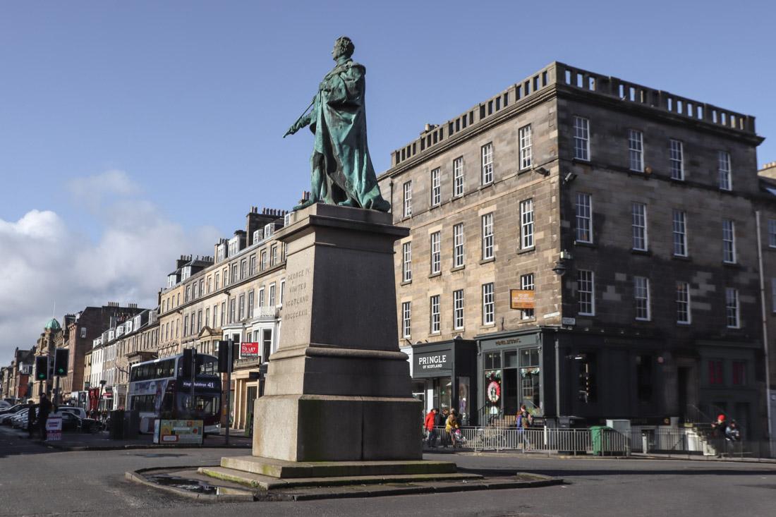 King George IV Statue George Street West End Edinburgh Shops