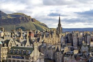 Scottish Slang Words and lingo. Overhead view of the Old Town, Edinburgh, Scotland, with the Firth of Forth and a hill in the distance