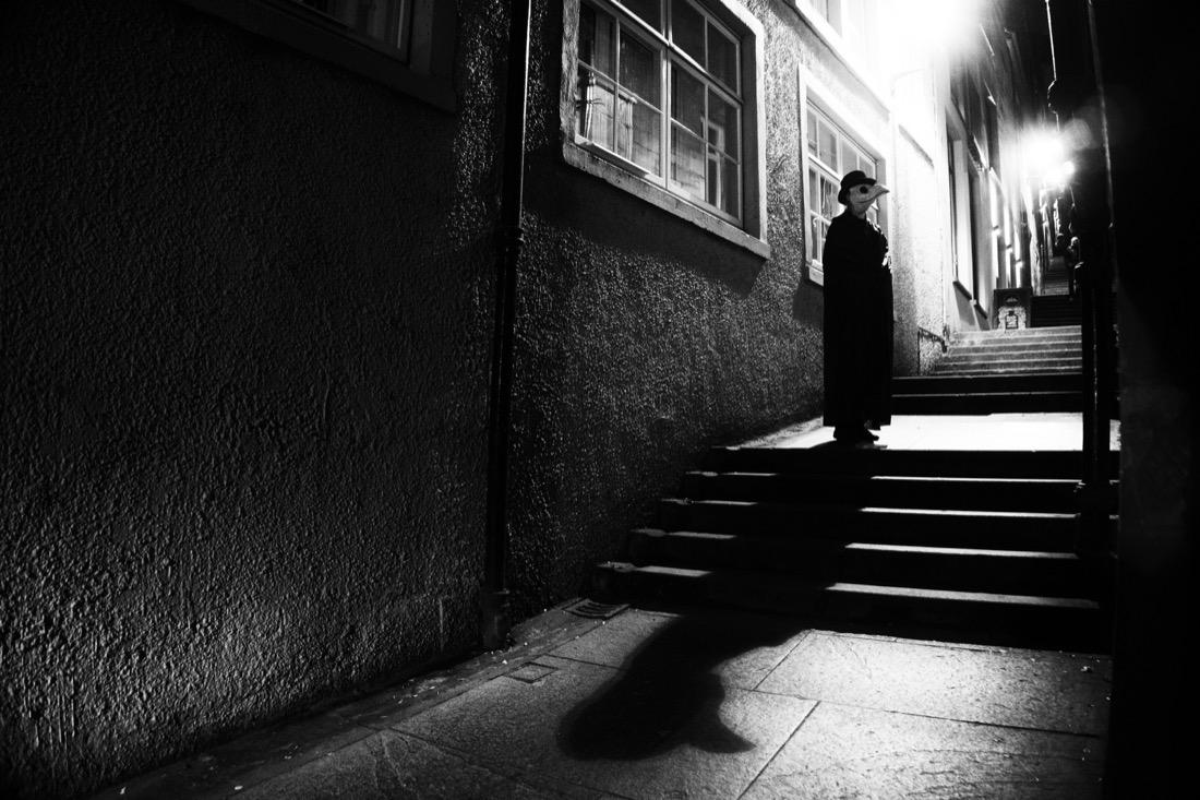 Plague Doctor. Edinburgh. Night. Halloween