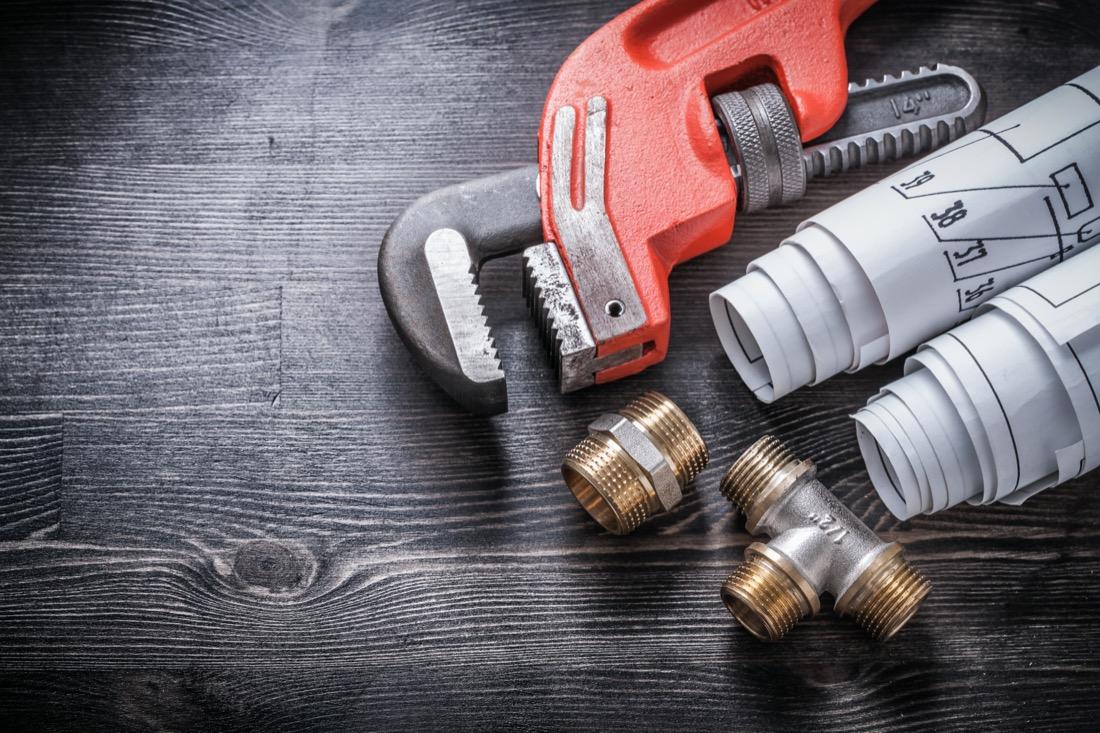 Plumbing tools and pipes.  Edinburgh plumbers.