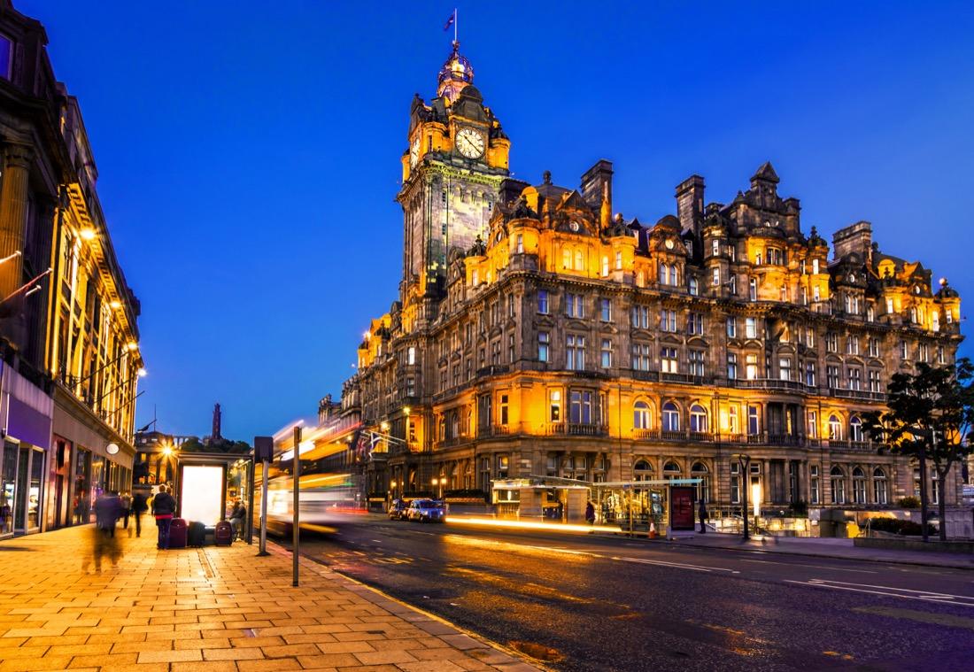 Edinburgh Princes Street Balmoral Hotel At Night