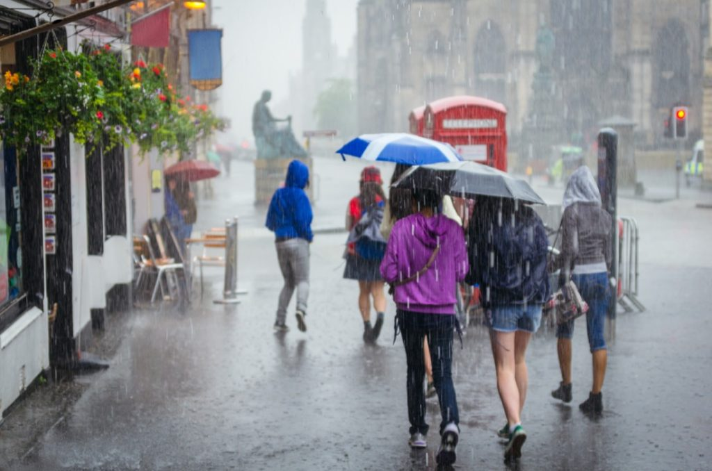 Rain. Edinburgh. Pub
