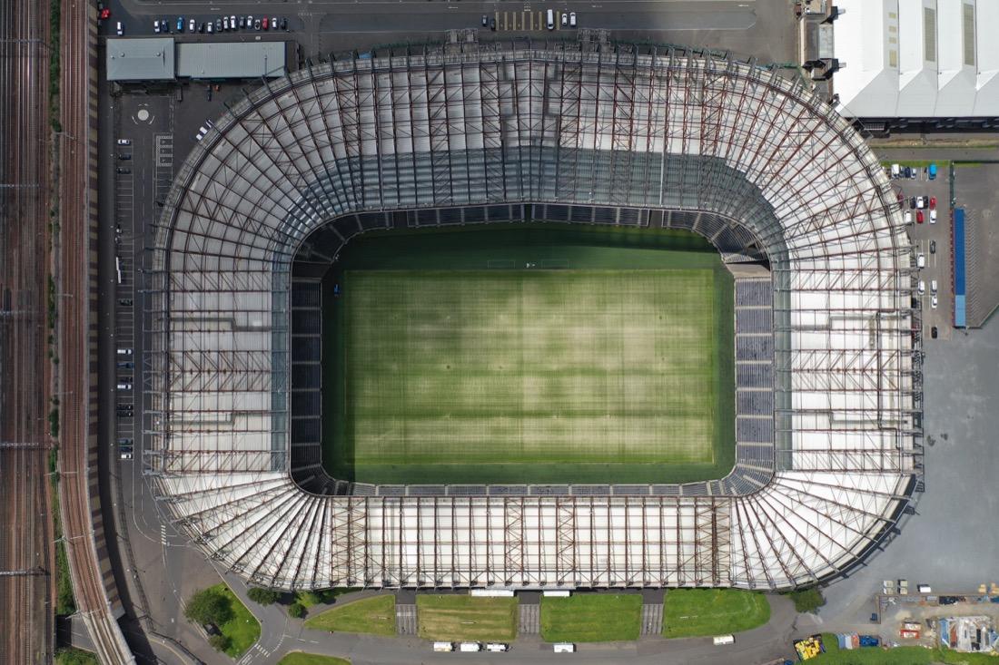 Scotland Edinburgh sports stadium drone. Murrayfield. Rugby.