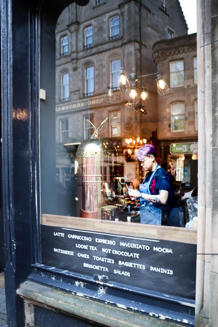 Server making coffe at The Wall Cockburn Street Edinburgh