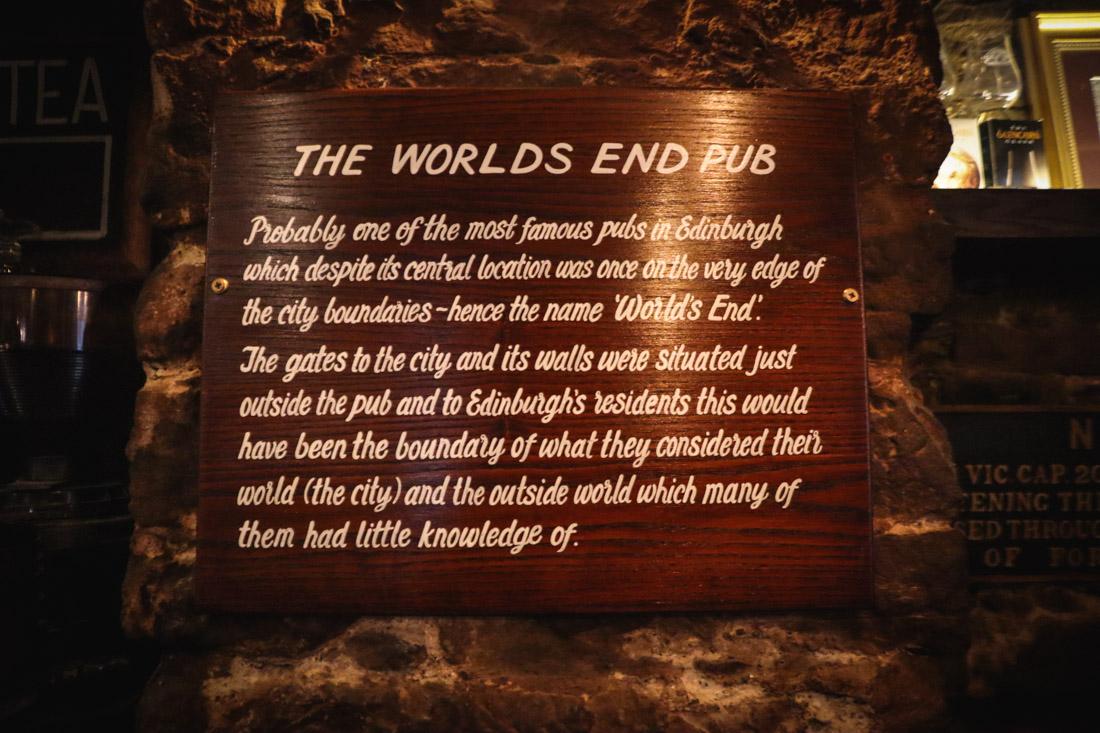 The Worlds End Pub Sign Royal Mile Old Town Edinburgh Pub