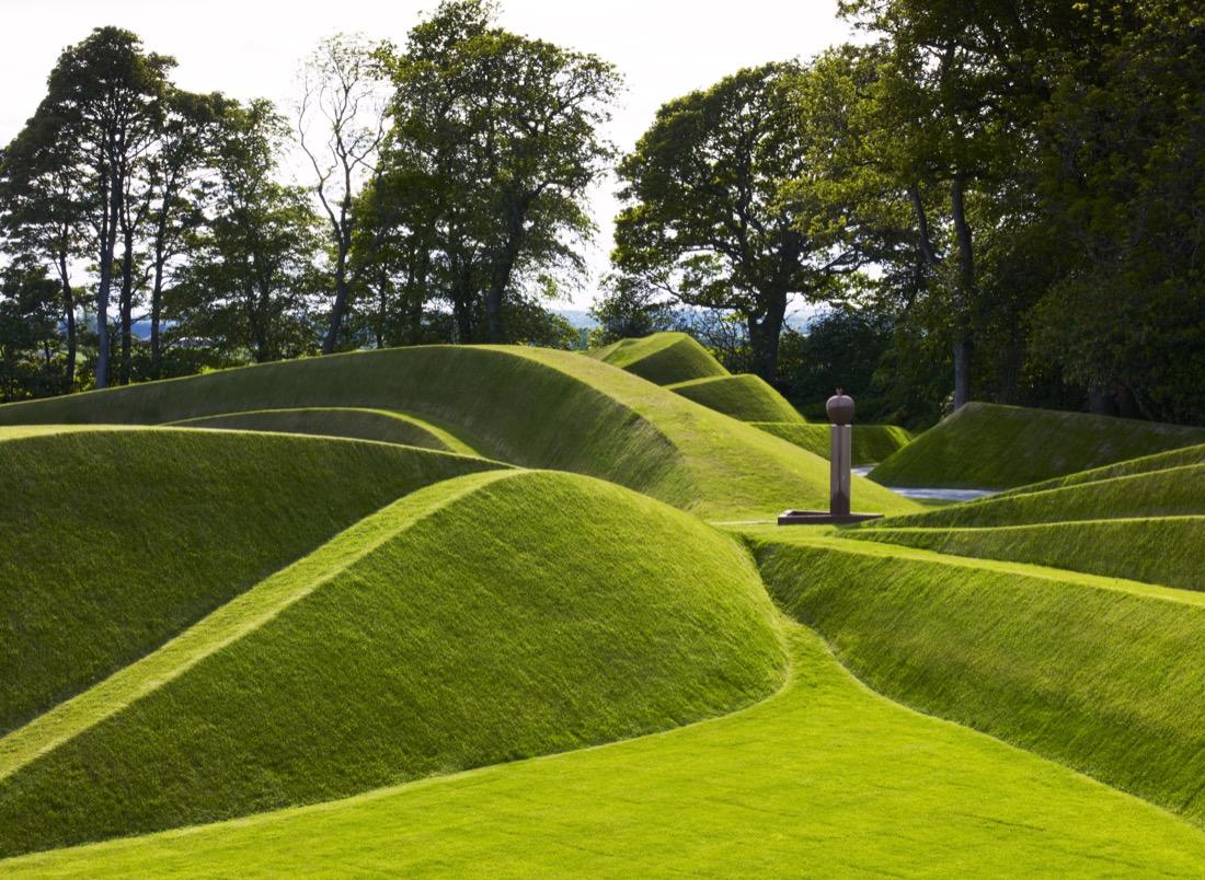 Green slopes art Cells of Life Charles Jencks Credit Jupiter Artland garden nature