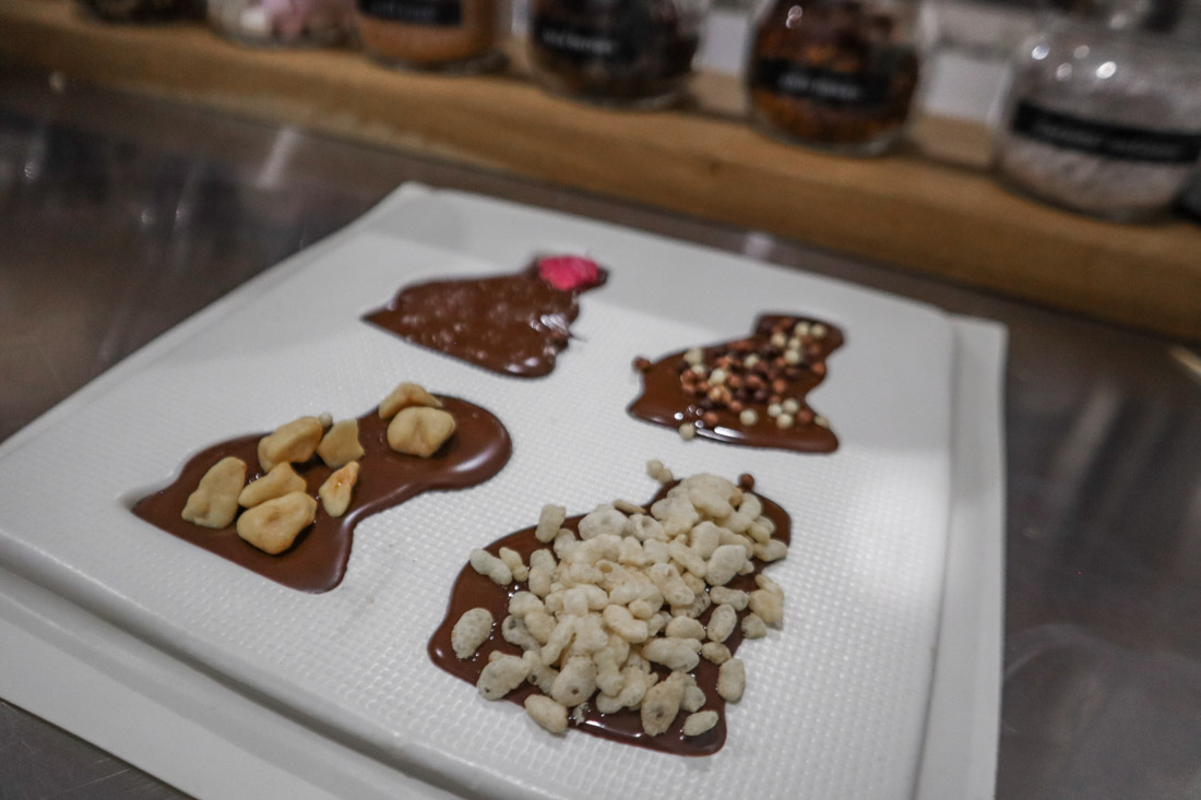 Chocolate moulds with toppings The Chocolatarium Activities Tours on Royal Mile Edinburgh