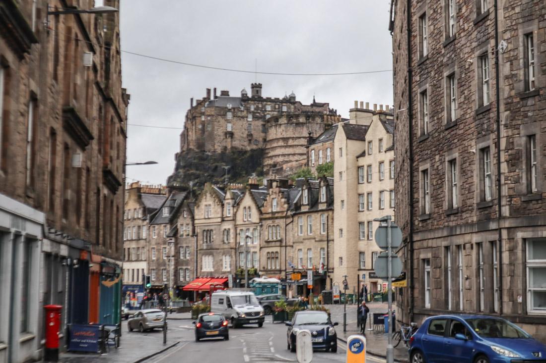Edinburgh Castle Cars View From Grassmarket