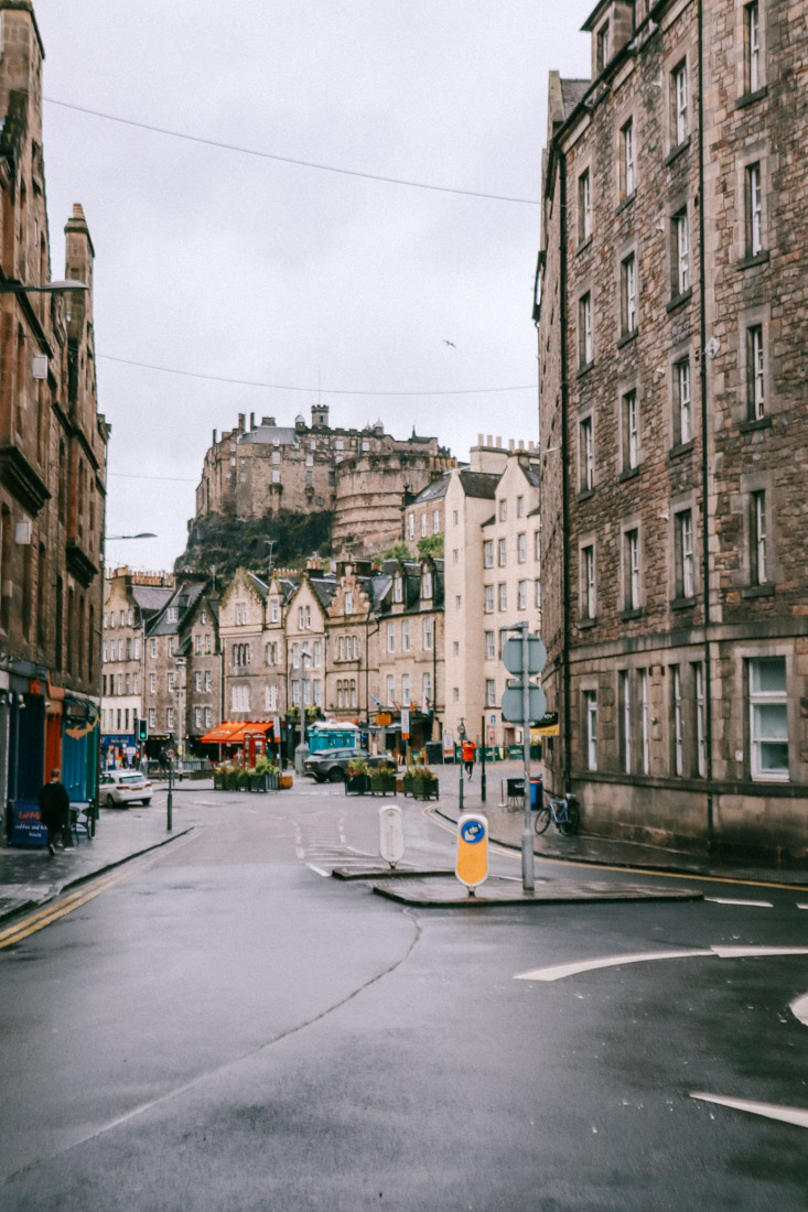 Edinburgh Castle Hill View From Grassmarket