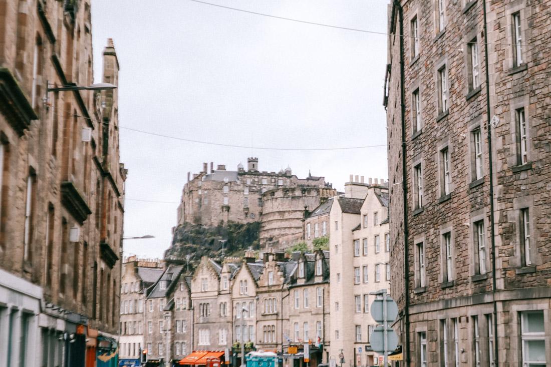 Edinburgh Castle Shops View From Grassmarket