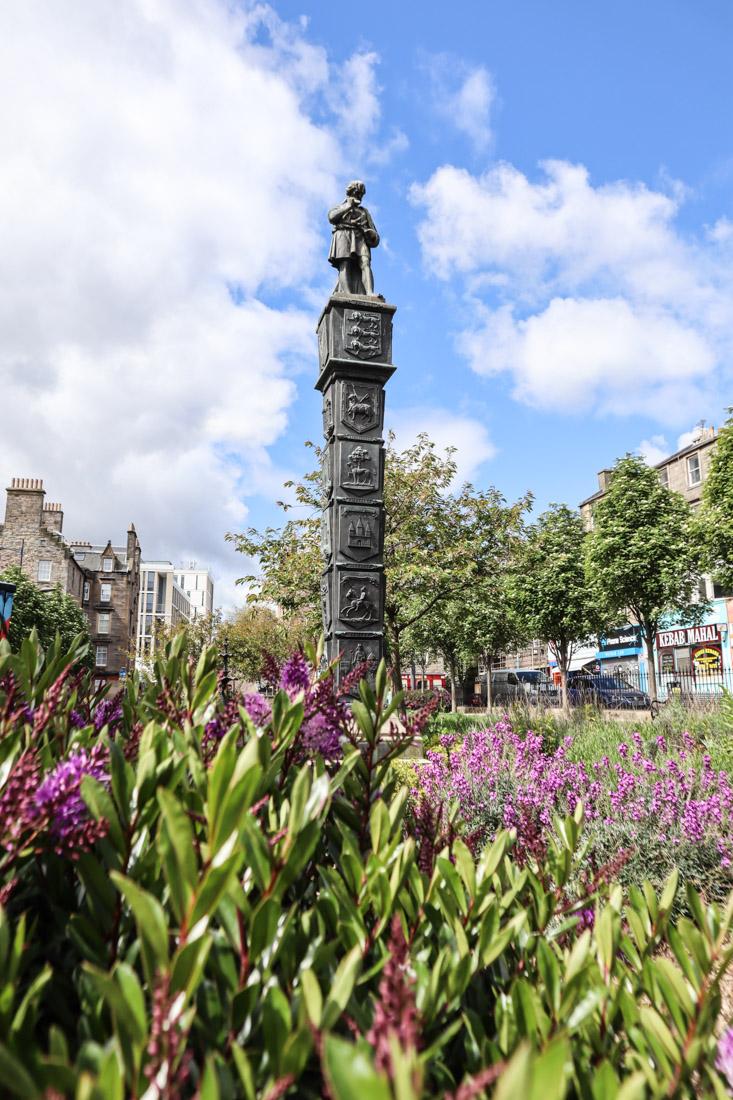 Nicholson Street Gardens Statue Flowers Edinburgh