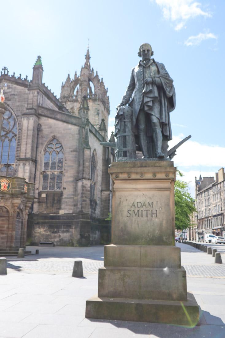 Adam Smith statue on Royal Mile Edinburgh