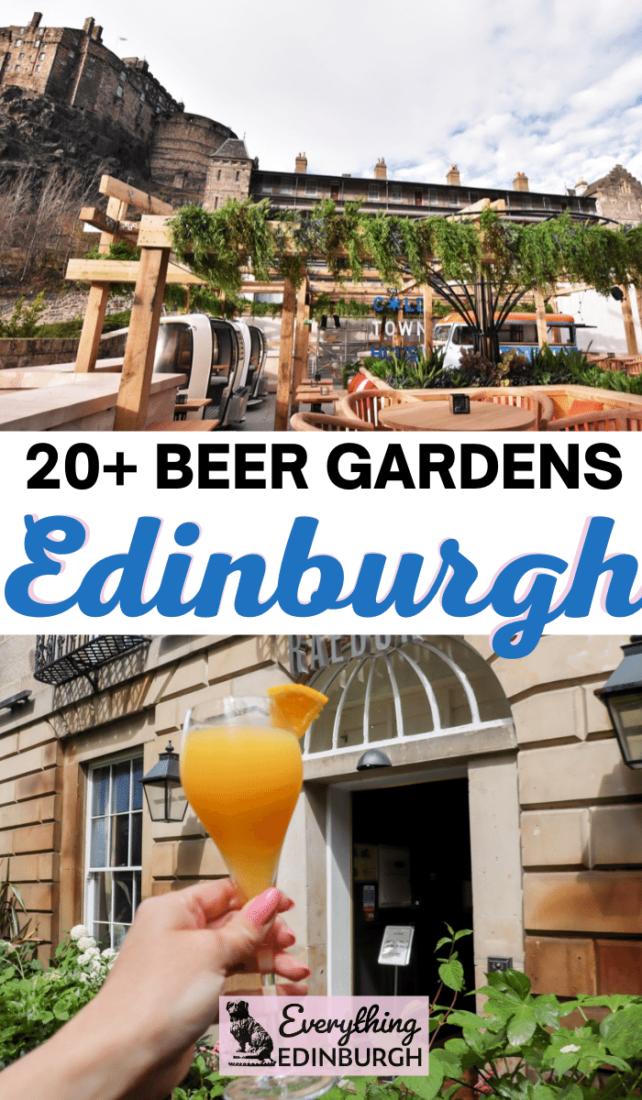 Beer Gardens in Edinburgh - seats with Edinburgh Castle views and a cocktail against New Town Edinburgh building