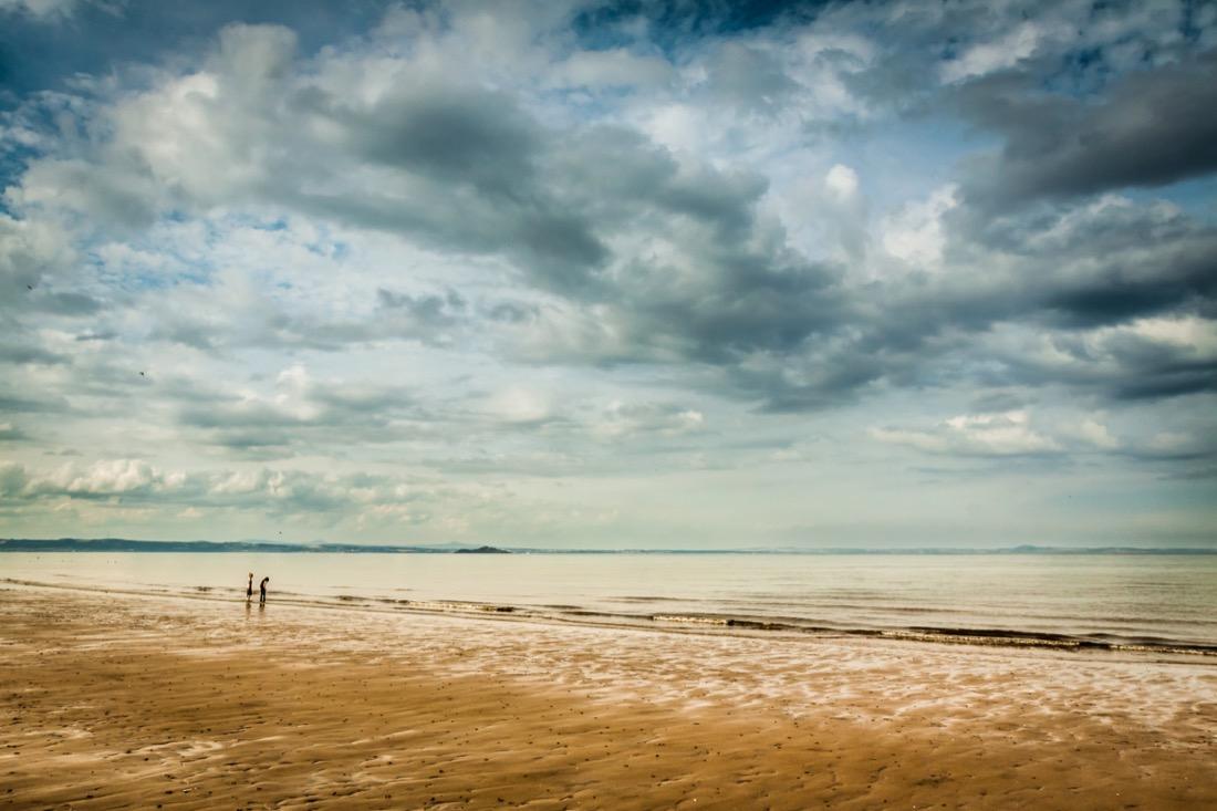 Children playing on Portobello Beach Edinburgh