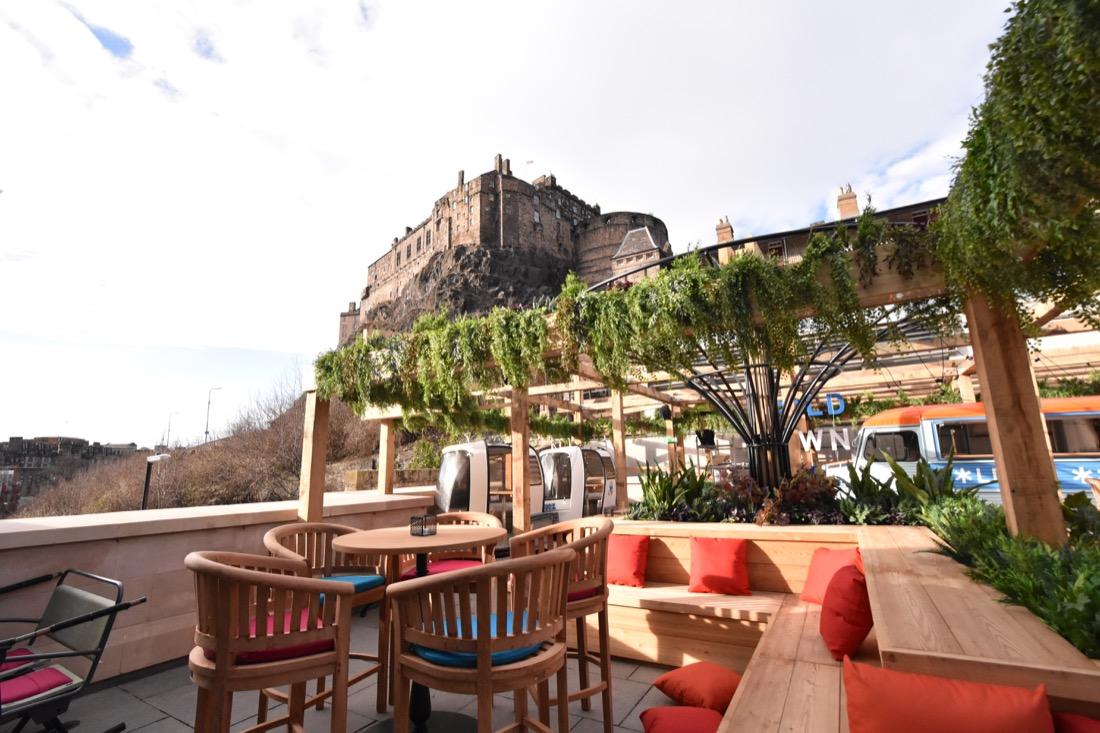Beer garden under Edinburgh Castle