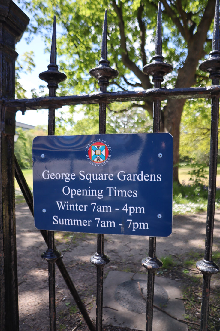 George Square Gardens Edinburgh Nature Park