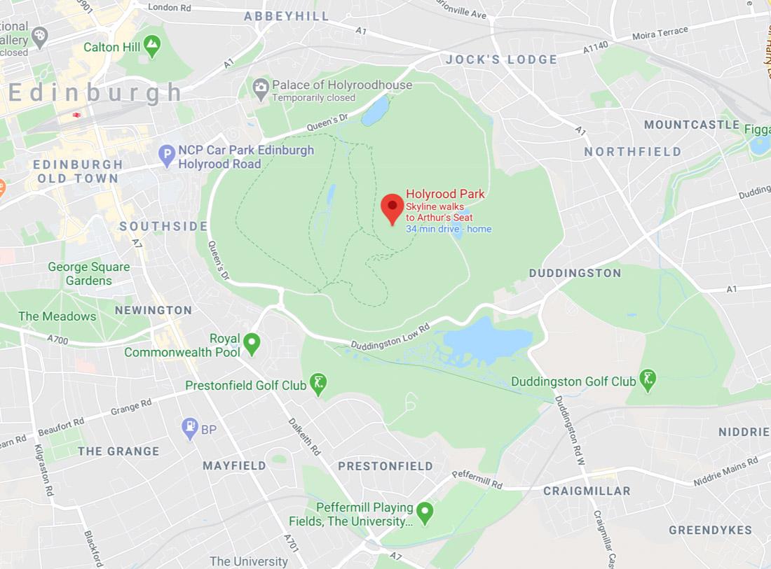 Holyrood Park Edinburgh Map