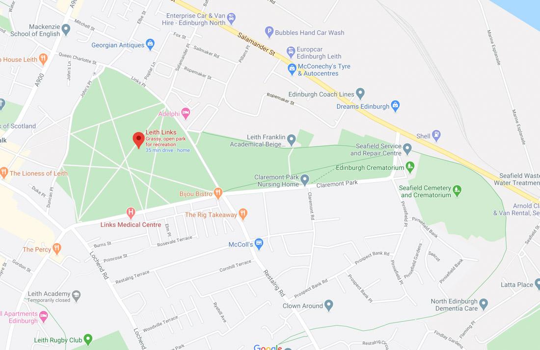 Leith Links Park Edinburgh Map