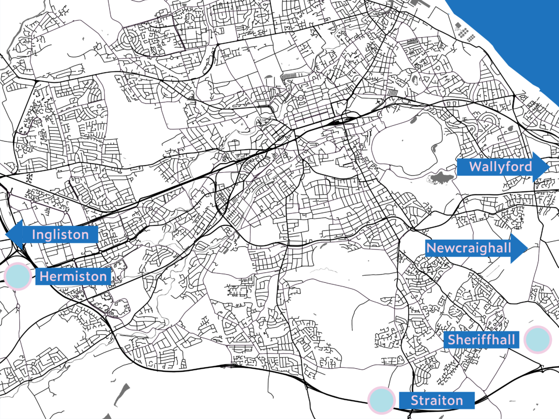Map of Park and Ride Locations in Edinburgh
