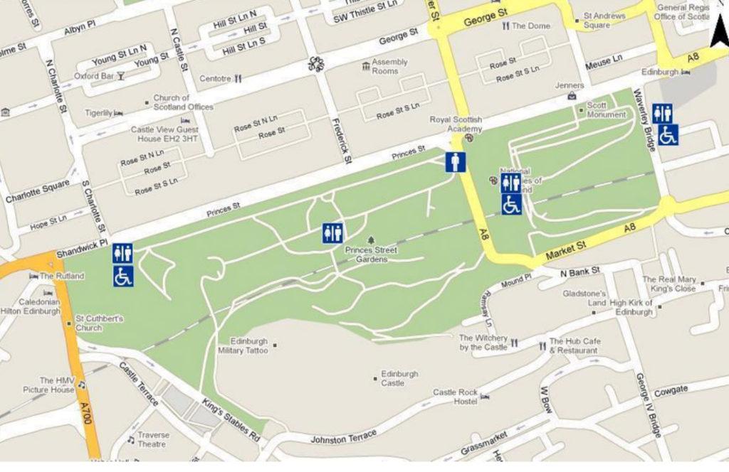 Princes Street Gardens Toilet Edinburgh Map