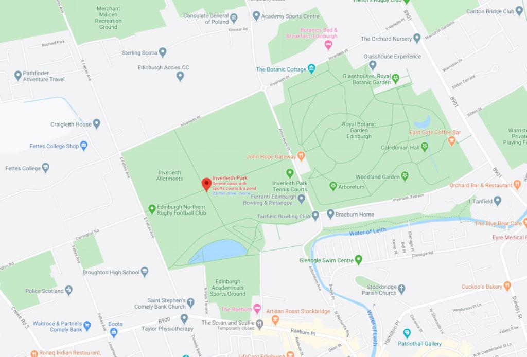 Royal Botanic Park Edinburgh Park Map