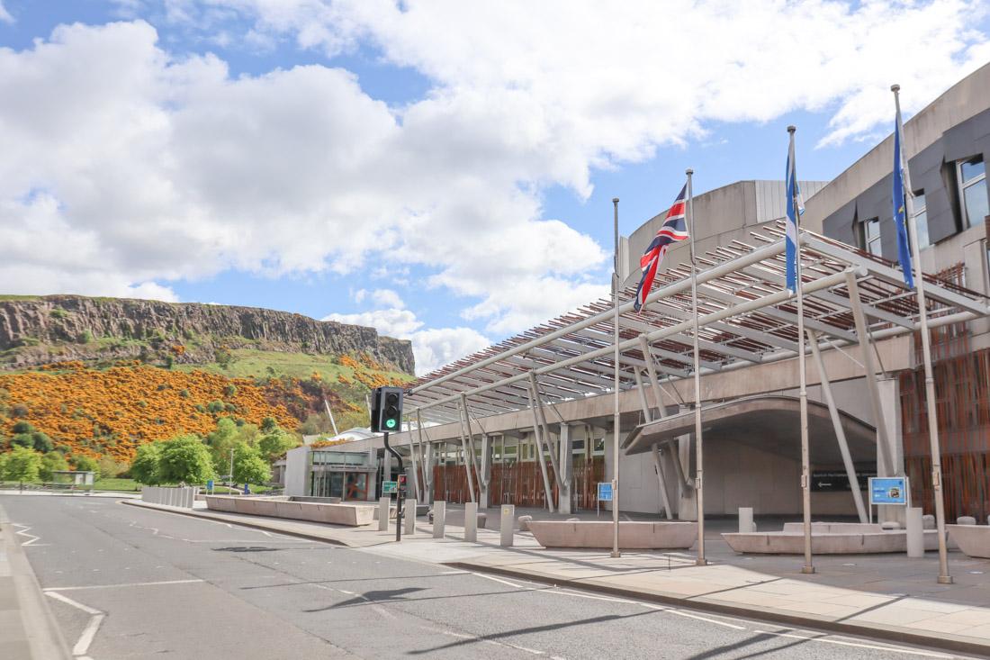 Scottish Parliament and Arthurs Seat Edinburgh