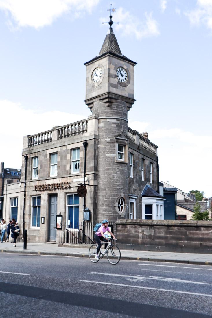 Pizza Express Building Cyclist Stockbridge Clock Turret Tower