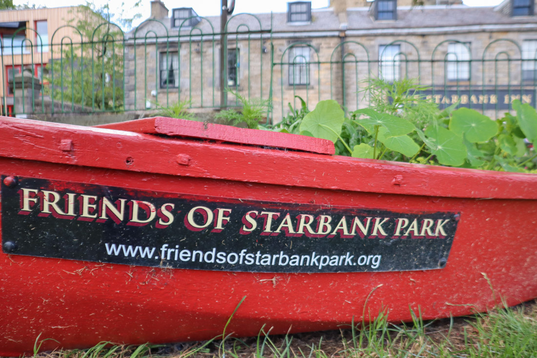 Starbank Park Edinburgh boat with plants_