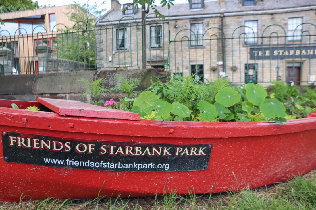 Starbank Park Newhaven Edinburgh boat with plants_