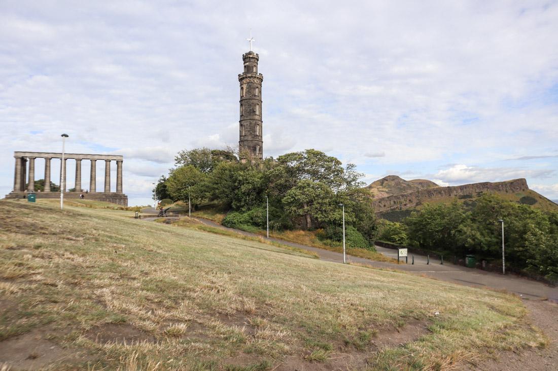 Calton Hill Monuments Arthurs Seat in Edinburgh_