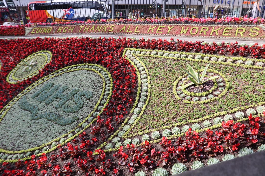 Flower Clock Thanks NHS workers Princes Street Gardens Edinburgh