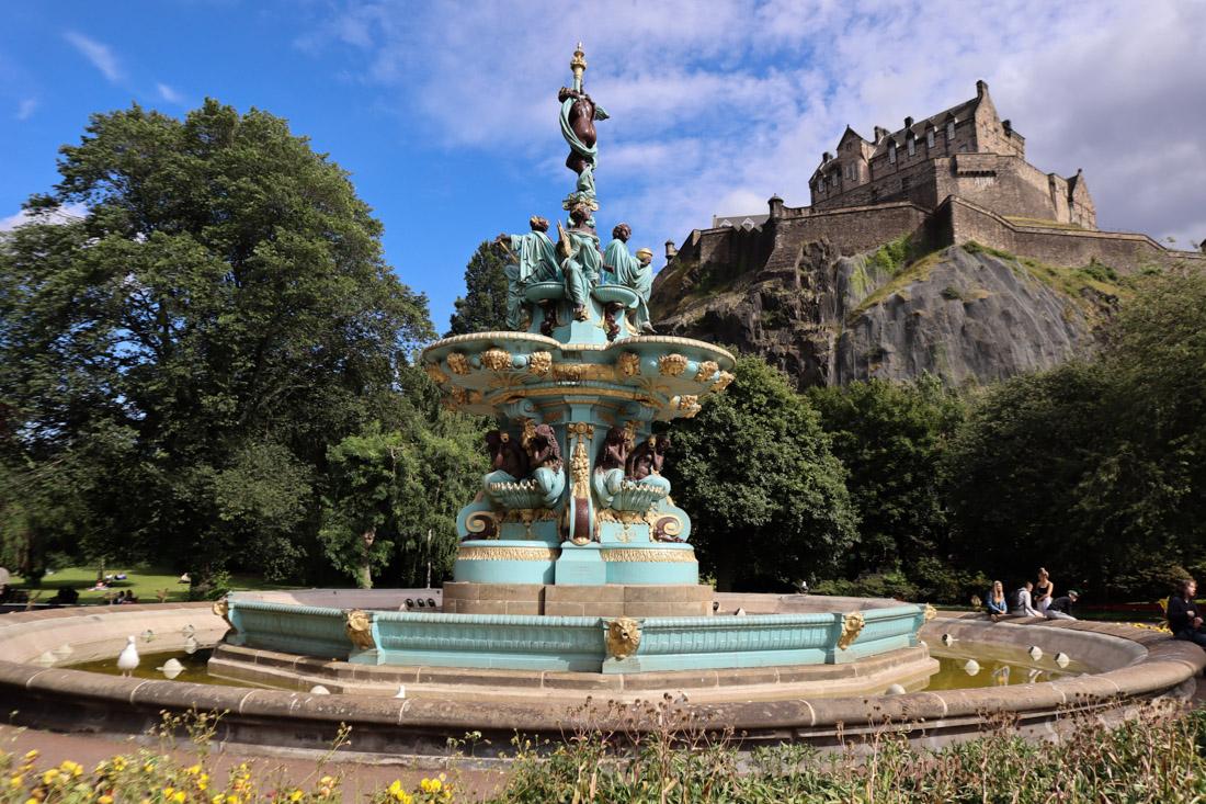 Ross Fountain People Princes Street Castle Edinburgh