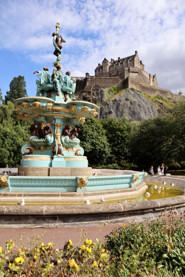 Ross Fountain Princes Street Castle Edinburgh