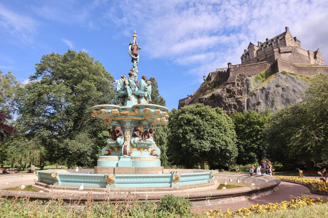 Ross Fountain Princes Street Garden Summer Castle Edinburgh