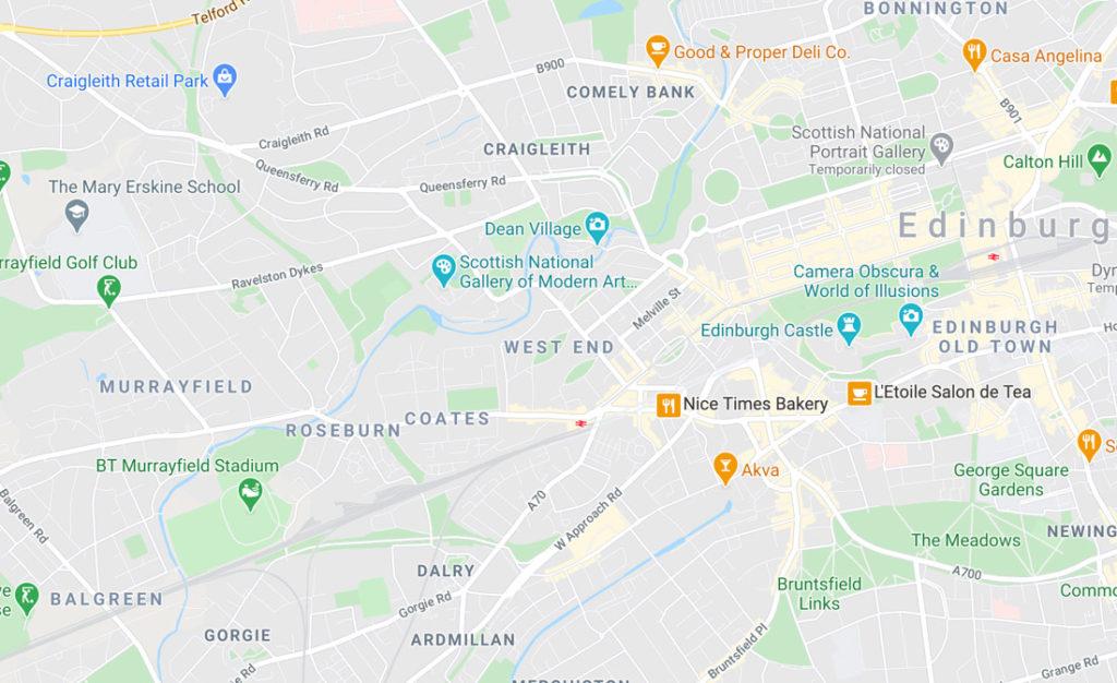 West End Edinburgh Map