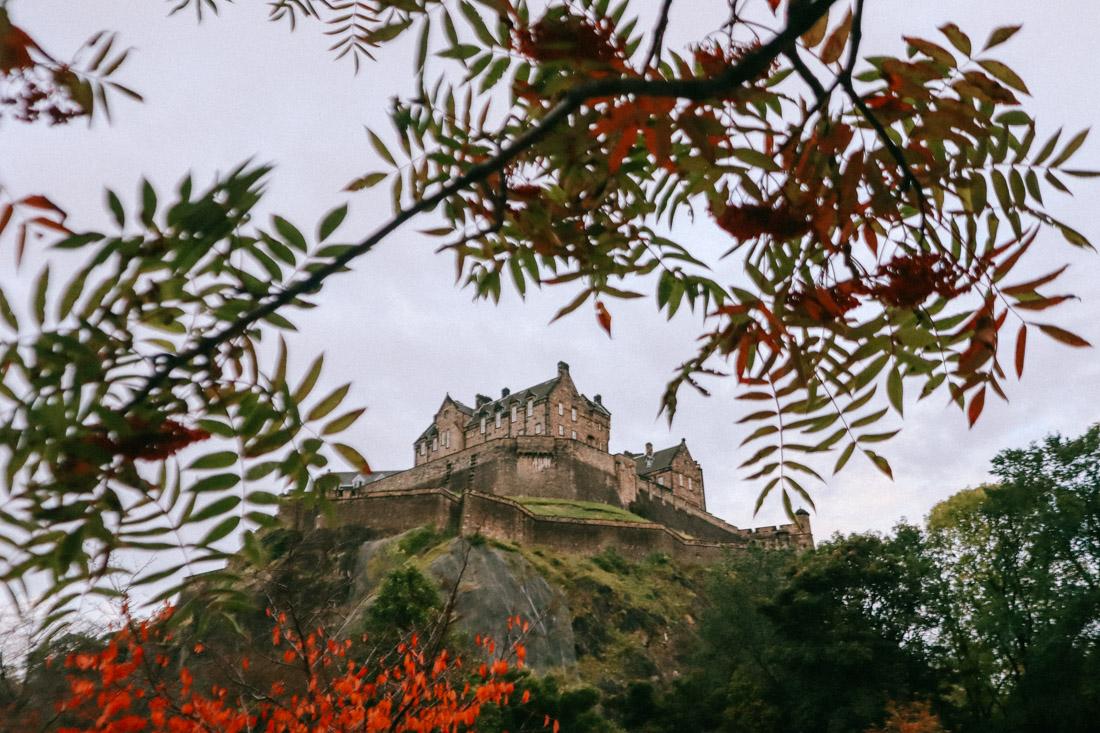 Edinburgh Castle Autumn Red Trees Leave