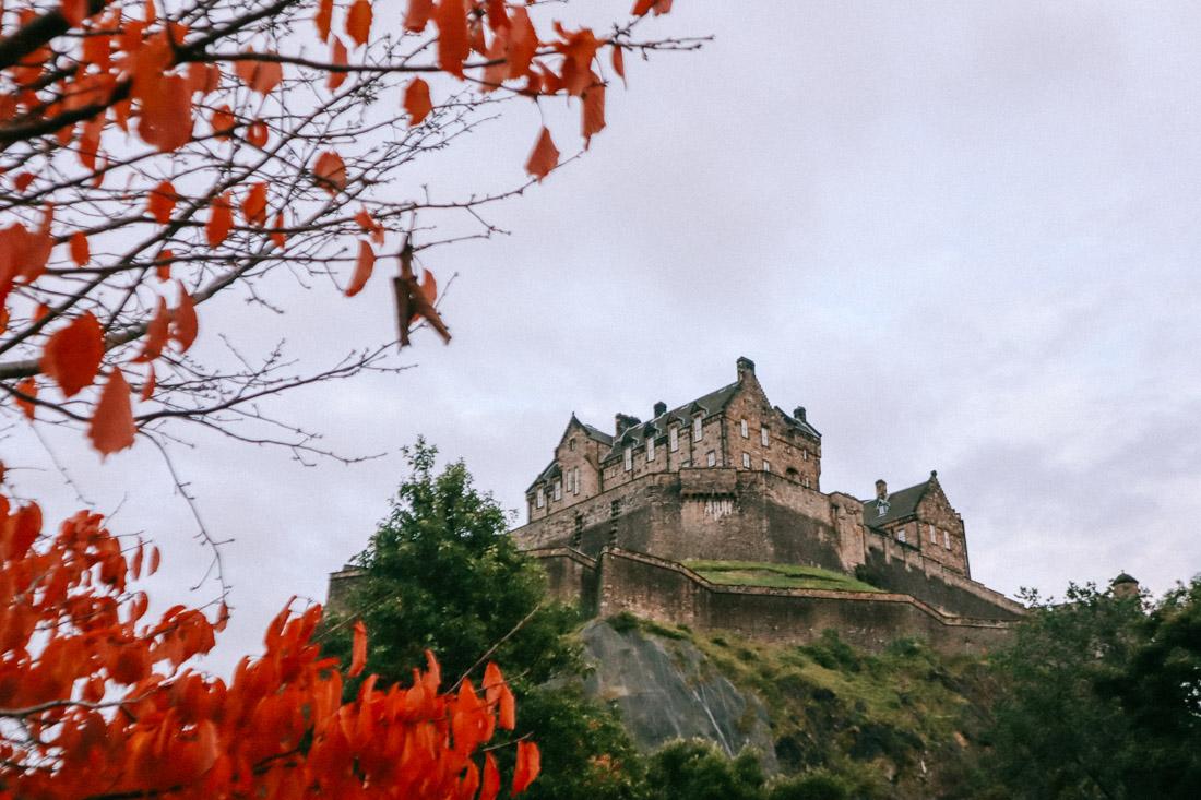 Edinburgh Castle Autumn with Red Tree