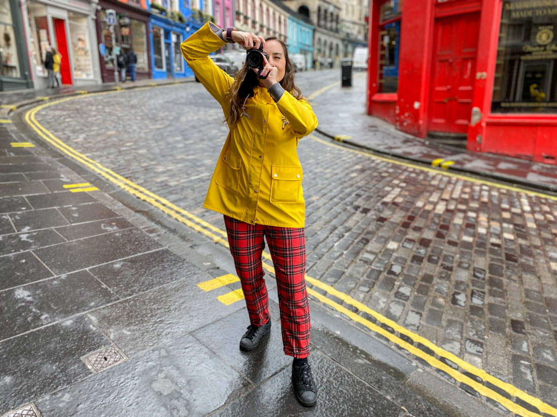 Victoria Street Gemma Yellow Coat Rain Camera Edinburgh Packing List