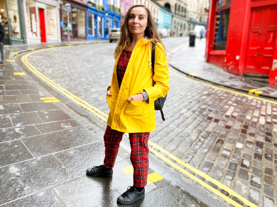 Victoria Street Gemma Yellow Coat Rain Edinburgh