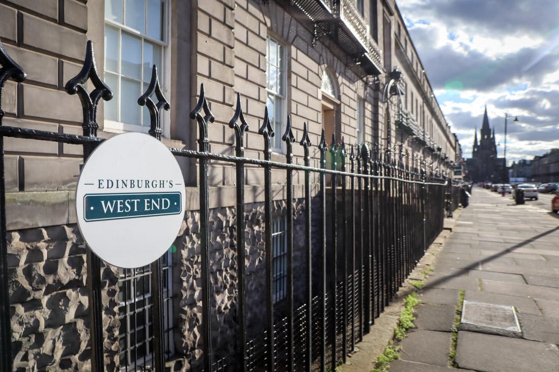 West End sign in Edinburgh