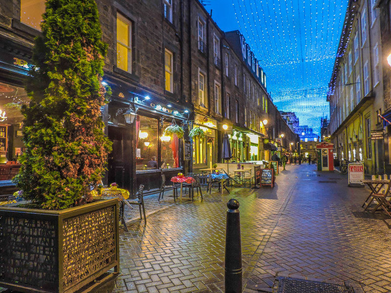 Rose Street at night with fairy lights